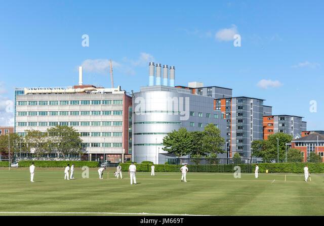 Cricket-Match auf United Services Spielgelände, Burnaby Road, Portsmouth, Hampshire, England, Vereinigtes Königreich Stockbild