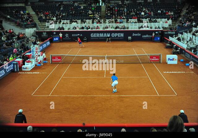 Deutsche Open 2017, ATP World Tour, Philipp Kohlschreiber (GER, vorne) vs. Andrey Rublev (RUS, zurück), Hamburg, Stockbild