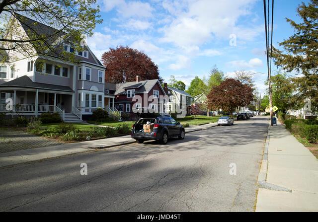 Savin Hill Avenue wohlhabenden viktorianischen Wohngegend Boston USA Stockbild