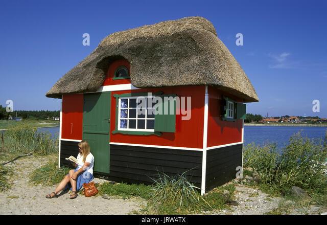 Badehaus am Strand, Insel Aeroe Marstal, Fünen, Dänemark, Skandinavien, Europa Stockbild