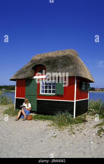 Strand Hütte am Strand, Insel Aeroe Marstal, Fünen, Dänemark, Skandinavien, Europa Stockbild