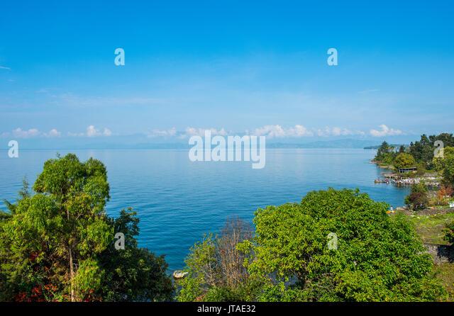 Blick über Lake Kivu, Goma, Demokratische Republik Kongo, Afrika Stockbild