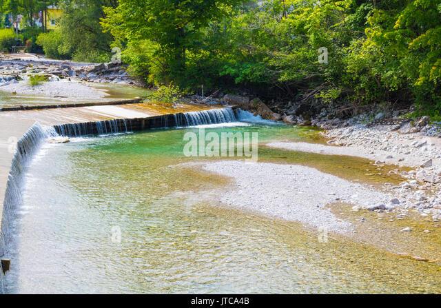 Almtal, Alm, Scharnstein, Fluss, Wasser, Wasserfall, Österreich, Sommer Stockbild