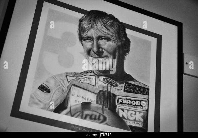 Joey Dunlop, Joeys Bar, Nordirland Stockbild
