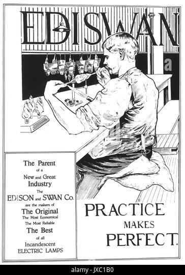EDISWAN Anzeige um 1910 für das Edison und Swan Electric Light Company Stockbild