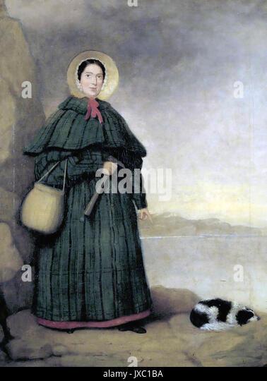 MARY ANNING (1799-1847) Englisch fossile Sammler und Paläontologe mit ihrem Hund Fach. Künstler unbekannt. Stockbild