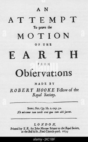"""ROBERT HOOKE (1635-1703), englischer Physiker und Chemiker. """"Ein Versuch, um zu beweisen, dass die Bewegung Stockbild"""