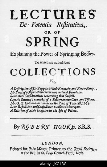 ROBERT HOOKE (1635-1703), englischer Physiker und Chemiker. ' Vorträge... Erklärung die Macht der Stockbild