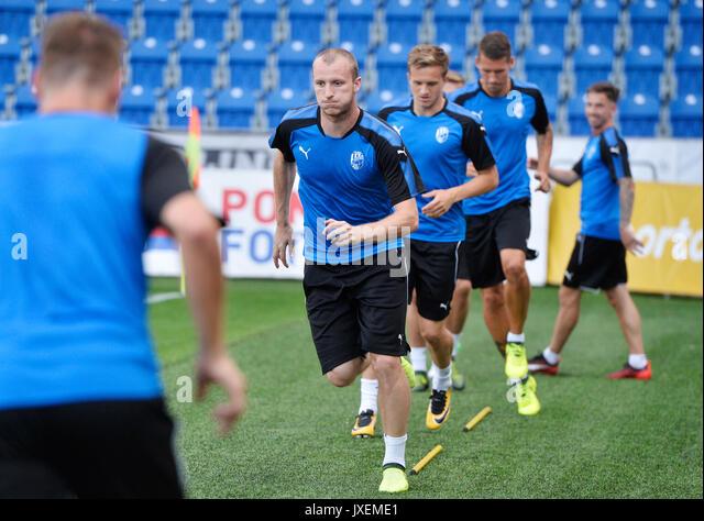 Pilsen, Tschechische Republik. 16 Aug, 2017. Tschechische Spieler besuchen Sie ein Training vor der UEFA Europa Stockbild