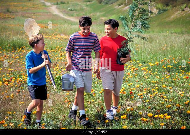 3 Drei umweltfreundliche multi Rasse Jungen 10 11 12 Jahre alten Pflanzen Baum Tag der Erde Teamarbeit junger Mensch Stockbild