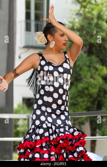 Flamenco Tänzerin während Santa Barbara's Alte spanische Tage Feier Stockbild