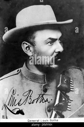LOUIS BOTHA (1862-1919) Südafrikanische Boer Führer und Politiker auf einer Postkarte um 1900 Stockbild