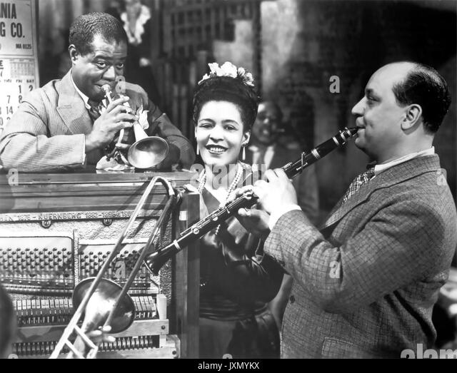 NEW ORLEANS 1947 United Artists Film mit Von links: Louis Armstrong, Billie Holliday, Barney Bigard Stockbild