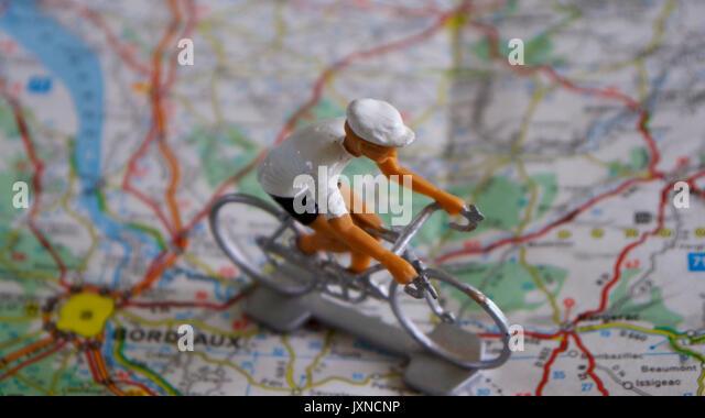 Planung einer Reise mit dem Fahrrad Stockbild