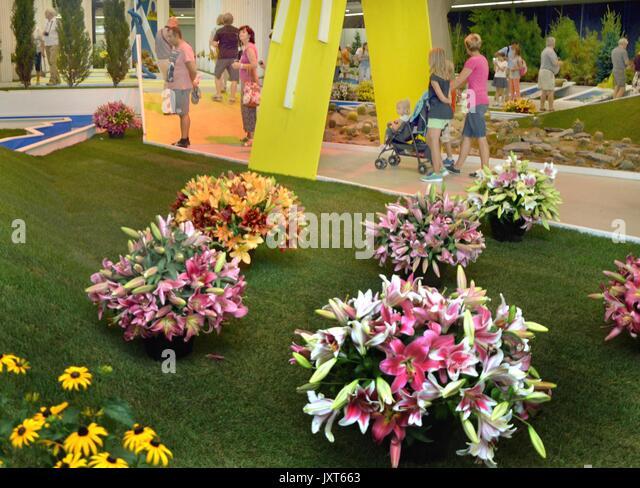 Internationale Blumenausstellung Flora Olomouc - Leto (Sommer) beginnt im Flora Messegelände in Olomouc, Tschechische Stockbild