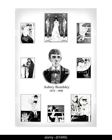 Aubrey Beardsley Design, Portrait mit acht Illustrationen Stockbild