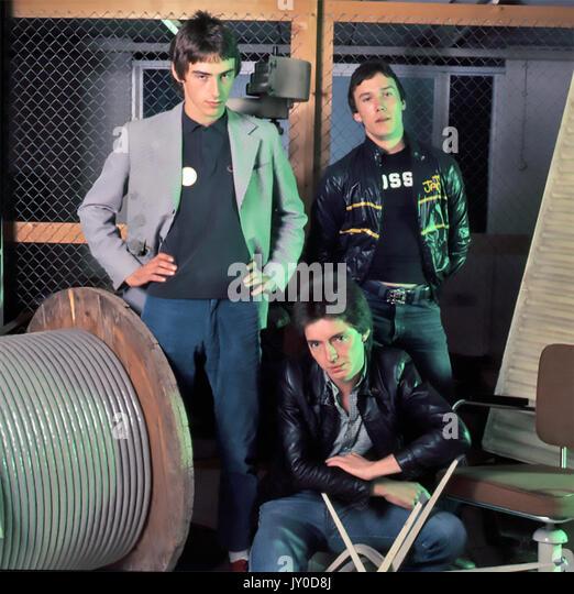 Die JAM UK pop Gruppe 1979 mit Von links: Paul Weller, Bruce Foxton, Rick Butler Stockbild
