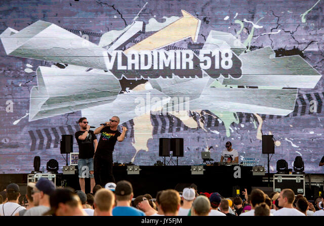 Hradec Kralove, Tschechische Republik. 17 Aug, 2017. Vladimir Broz - Wladimir 518 (Mitte), Michal Opletal - Orion Stockbild