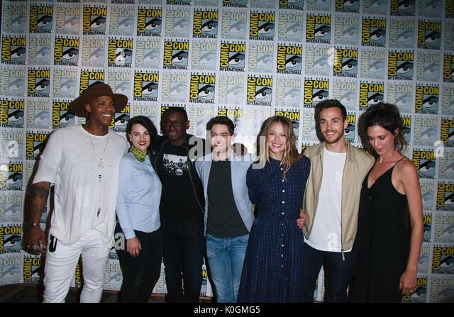 San Diego Comic Con 2017-upergirl'-Fotoshooting mit: Mehad Brooks, Katie McGrath, David Harewood, Jeremy Jordan, Stockbild