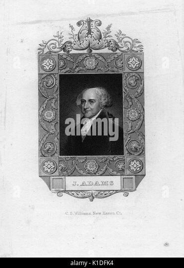 Ein kupferstich von einem Porträt von John Adams mit verziertem Rand, 1820. Von der New York Public Library. Stockbild