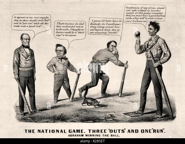 Die nationalen Spiel. Drei 'outs' und eine 'Run'-politische Karikatur, September 1860-pro-Lincoln Stockbild