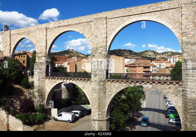 Spanien, Aragonien, Aragon, Teruel, Viadukt, Arcos Stockbild