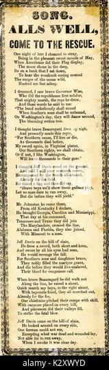 """Breitseite aus dem amerikanischen Bürgerkrieg, der den Titel """"Alls Gut, kommen Sie, um die Rettung"""", Stockbild"""