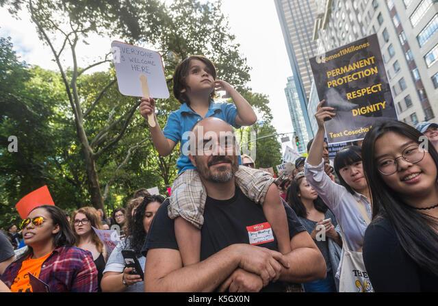 """New York, NY, 9. September 2017 - Mehrere tausend """"REIBAHLEN"""", die Kinder der Immigranten ohne Papiere Stockbild"""