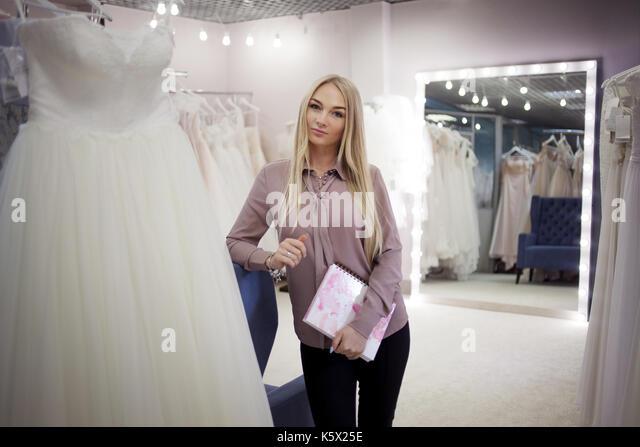 Schöne junge Frau Unternehmer. Direktor der Wedding Salon Stockbild
