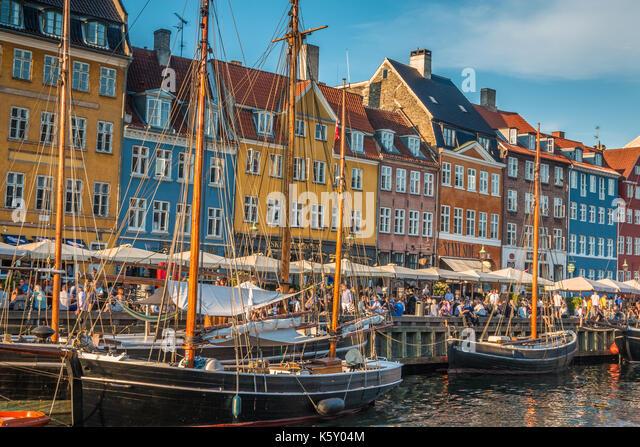 Alten Hafen Nyhavn in Kopenhagen Stockbild