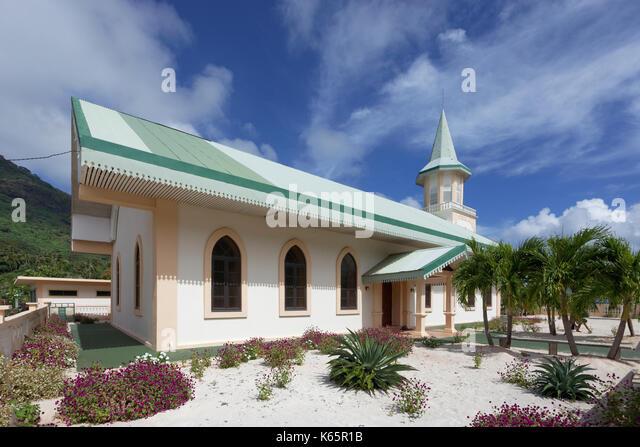 Katholische Kirche, Vaitape, der Insel Bora Bora, Gesellschaftsinseln, Französisch Polynesien Stockbild