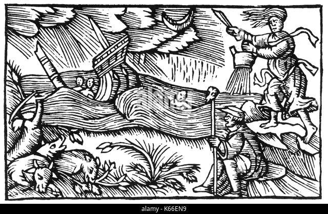 OLAUS MAGNUS (1490-1557), schwedischer katholischer Priester. Holzschnitt zeigt eine Hexe ein Sturm auf See von Stockbild