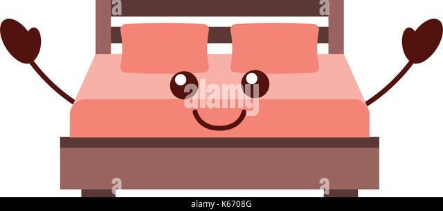Doppelbett und Kissen mit Decke Schlafzimmer Möbel im Stil Cartoon Stockbild