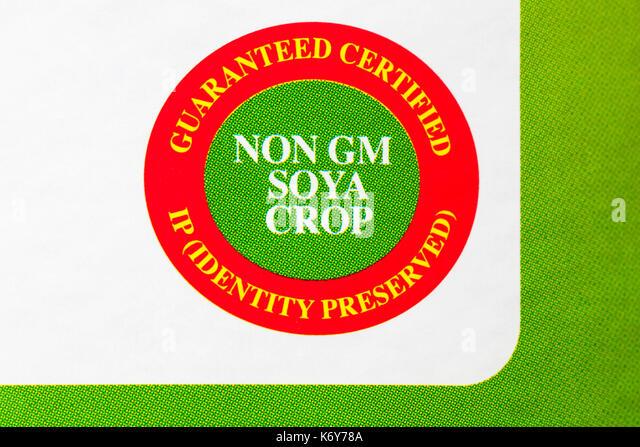 Nicht GV-Soja Ernte garantiert zertifizierte IP Identität bewahrt Symbol auf Wanne von Optima 100% reines Lecithin Stockbild