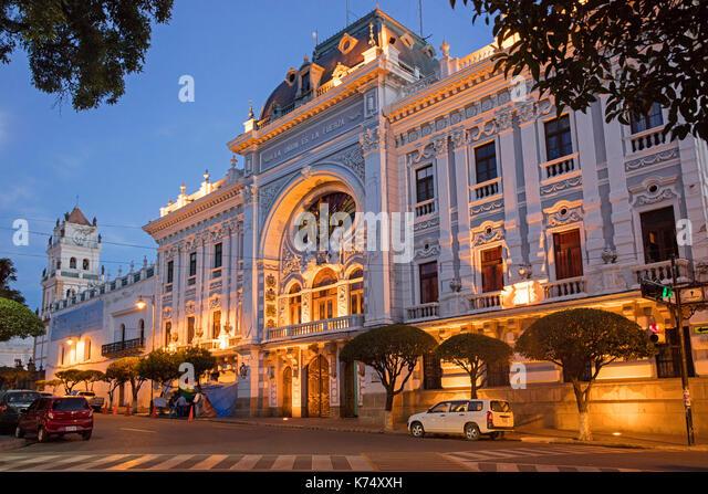 Das Departamento Chuquisaca Gouverneursamt Palace in republikanischen Architektur in der Stadt Sucre, konstitutionelle Stockbild