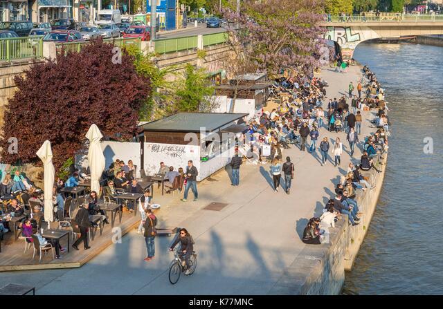 Österreich, Wien, Altstadt zum Weltkulturerbe der UNESCO, die Ufer der Donau gebaut im Sommer Stockbild