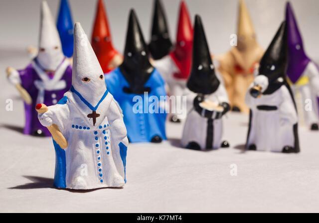 Spanien, Madrid, Souvenir Penitentes, spanische religiöse Prozession Miniaturfiguren Stockbild