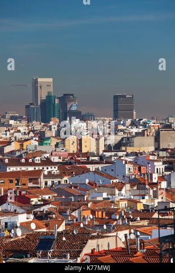 Spanien, Madrid, Centro Bereich, erhöhte Ansicht der Bürotürme in nördlichen Madrid, morgen Stockbild