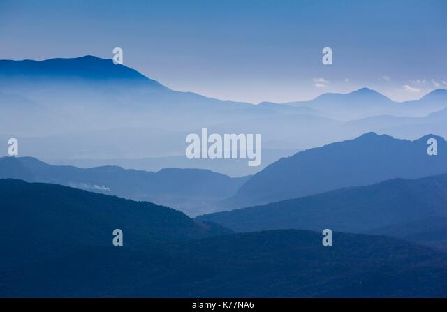 Spanien, Andalusien, Provinz Cadiz, Grazalema-Zahara De La Sierra, Sierra Margarita Berglandschaft, morgen Stockbild