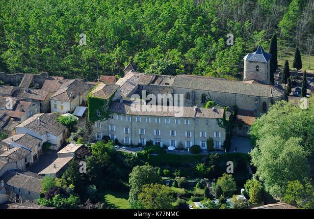 Frankreich, Ariège, Camon, bezeichnete die Schönsten Dörfer Frankreichs, mittelalterliches Dorf befestigte Stockbild