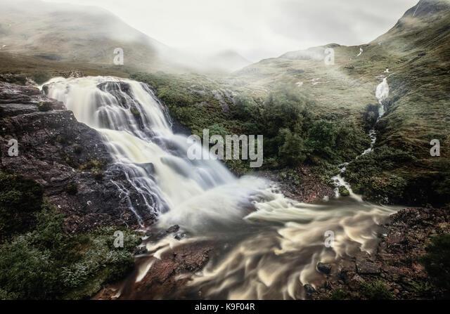 Treffen der drei Gewässern, Glen Coe, Schottland, Vereinigtes Königreich Stockbild