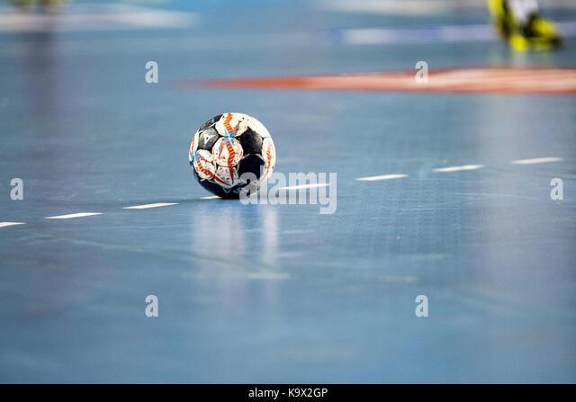 Leon, Spanien. 24. September, 2017. Die Kugel der gleichen während der Handball Match von 2017/2018 EHF Champions Stockbild