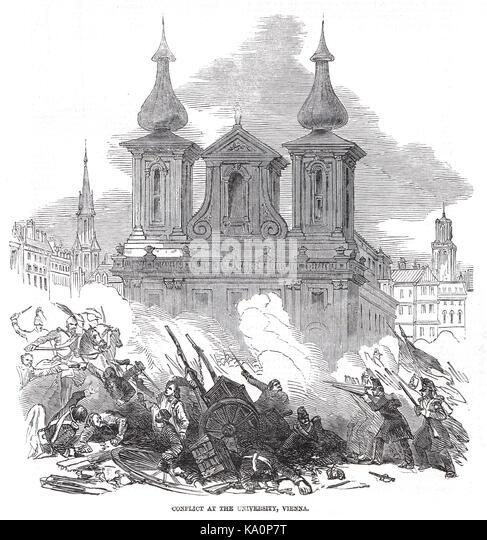 Konflikt an der Universität Wien, der Österreichischen Revolution von 1848 Stockbild