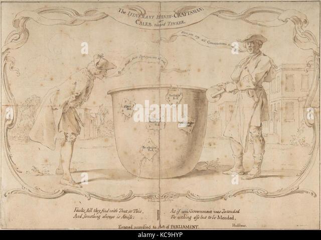 Design für eine englische politische Satire, Hubert françois Gravelot, 18. Jahrhundert Stockbild