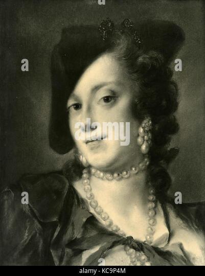 Porträt eines venezianischen Frau von barbarigo Familie, Gemälde von Rosalba Carriera Stockbild