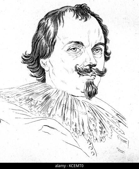 17. jahrhundert Zeichnung von einem Mann nach van Dyck Stockbild