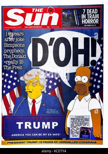 """D'oh!"""" Schlagzeile in der britischen Zeitung 'The Sun' Vorderseite, 10. November 2016. Nach der Stockbild"""