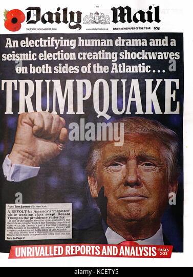 """Trump Quake"""" Schlagzeile in der britischen Zeitung, der 'Daily Mail' Vorderseite, 10. November 2016. Stockbild"""