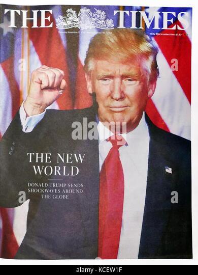 """Die neue Welt"""" der britischen Zeitung """"The Times"""" Vorderseite, 10. November 2016. Nach der Wahl von Stockbild"""