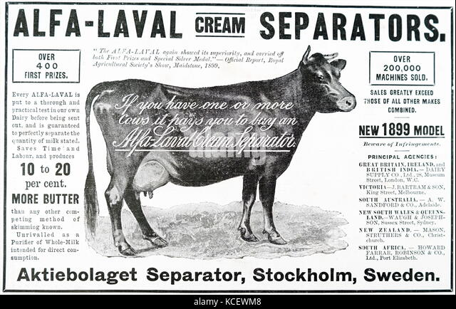 Anzeige für 1899 Modell des Alfa-Laval creme Separatoren von Stockholm, Schweden. Vom 19. Stockbild